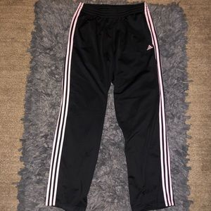 Adidas size large track pants with pink 3 stripes